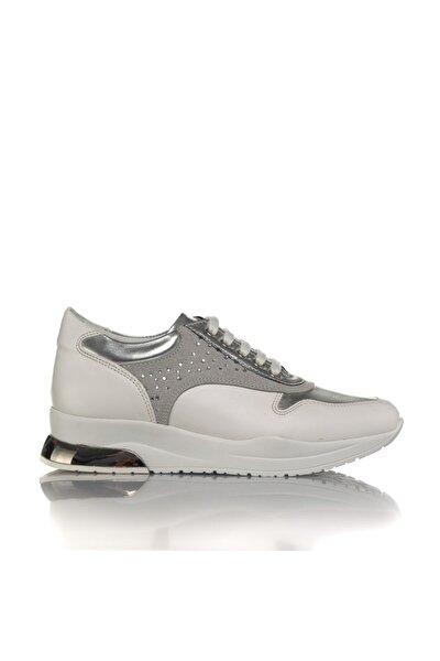 Kadın Beyaz Vegan Cilt Bağcıklı Klasik Spor Ayakkabı -i3024