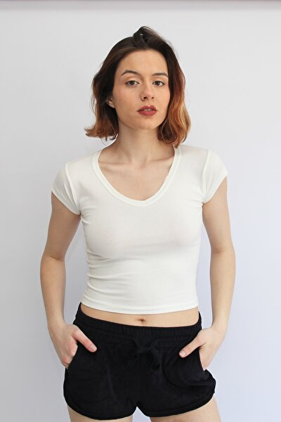 Kadın Ekru V Yakalı Crop Top T-shirt