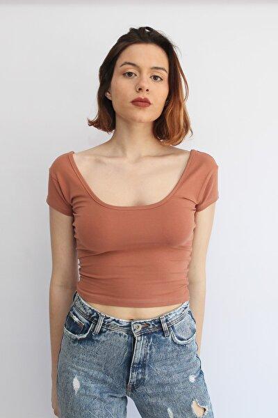 Kadın Soğan Kabuğu Rengi U Yaka Crop Top T-shirt