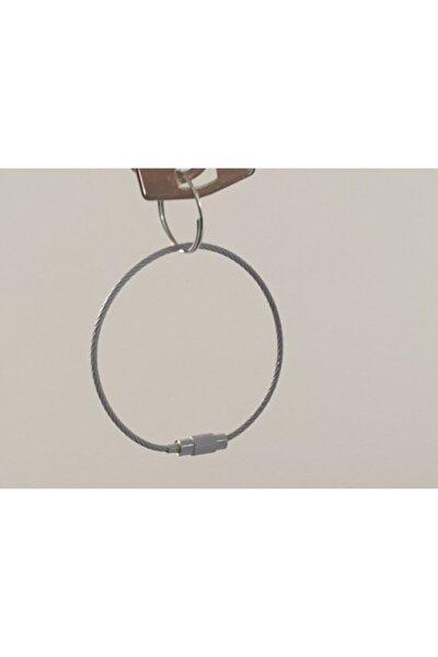 Gri Renkli Karabina Kablo Paslanmaz Çelik Tel Anahtarlık ( 3 Adet)