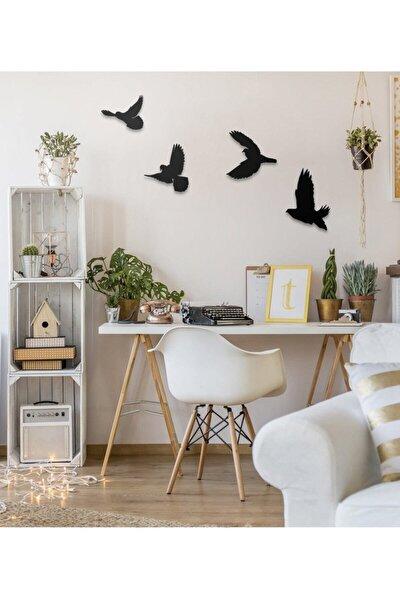 Dekoratif Ahşap Modern Dörtlü Kuş Duvar Süsü Duvar Dekor
