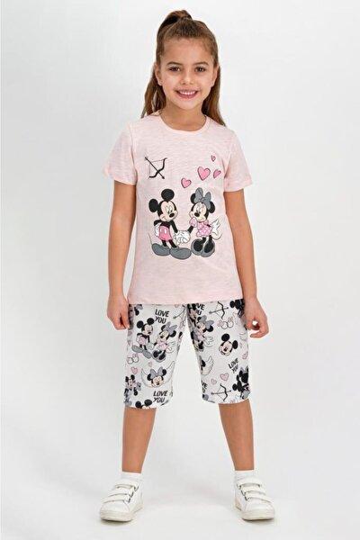 Mickey Mouse Lisanslı Somon Kız Çocuk Kapri Takım D4303-c