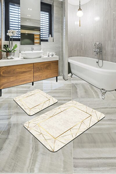 Vivahome Dijital Banyo Halısı Klozet Takımı 2'li Paspas Seti Bs341 60x90cm + 60x60cm