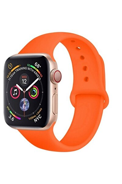 Apple Watch 38 - 40 Mm Spor Kordon Silikon Kayış Turuncu