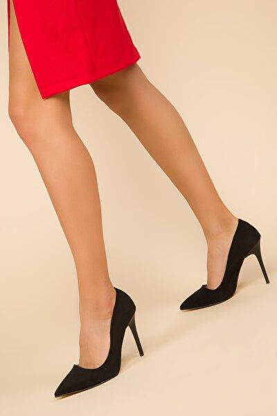 Siyah Suet Kadın Klasik Topuklu Ayakkabı 14315