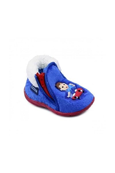 Erkek Çocuk Panduf Çocuk Figür Mavi Ev Ayakkabısı