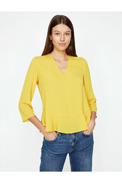 Kadın Sarı Firfir Detayli Bluz