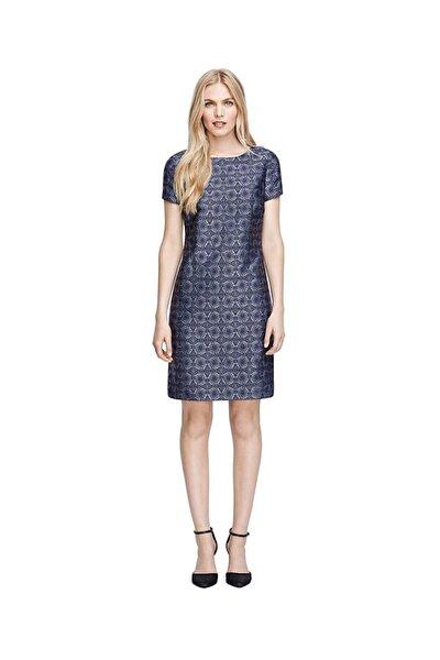 Kadın Mavi Geometrik Desenli Elbise