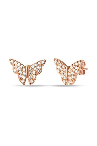 Minimal Kelebek Küpe Kadın Rose Zirkon
