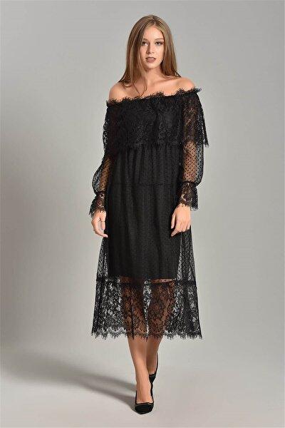 Siyah Güpür Kayık Yaka Elbise