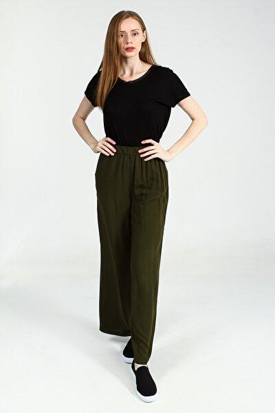 Haki Beli Lastikli Bol Paça Kadın Pantolon