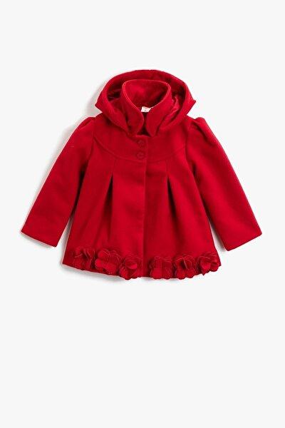 Kız Bebek Kapüşonlu Düğmeli Çiçekli Gabardin Kumaş Kırmızı Kaban 1kmg09072zw