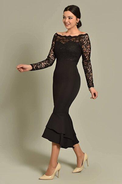 Siyah Güpür Ve Volan Detaylı Elbise