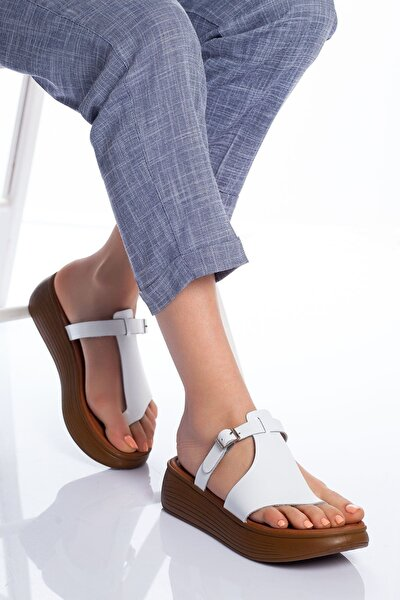 Cora Hakiki Deri Sandalet Beyaz