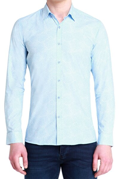 G 1384 Slim Fit Mavi-beyaz Spor Gömlek