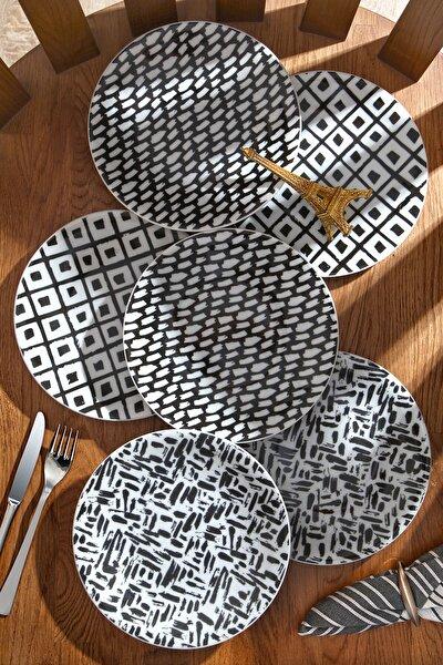 6'lı Özel Tasarım Handmade 21cm Pasta Tabak Seti - Porselen - Pastel Serisi