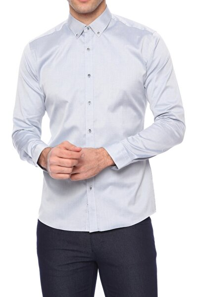Gk 460 Slim Fit Gri Klasik Gömlek