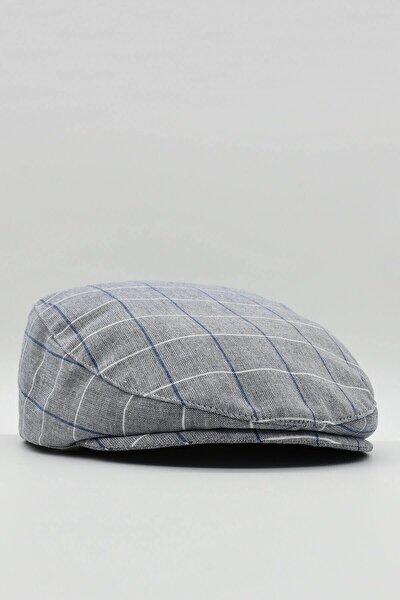 Erkek Kasket Ekoseli Keten Şapka