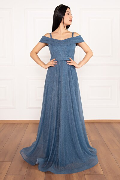 Jessia 13278 Askılı Simli Tül Uzun Elbise