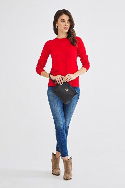 Kadın Basic Clutch Çanta Düz Desenli Logolu Siyah (4010s) 214009
