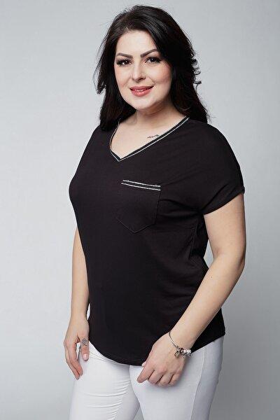 Kadın Büyük Beden Yaka Ve Cepleri Gümüş Şeritli V Yaka Siyah Bluz