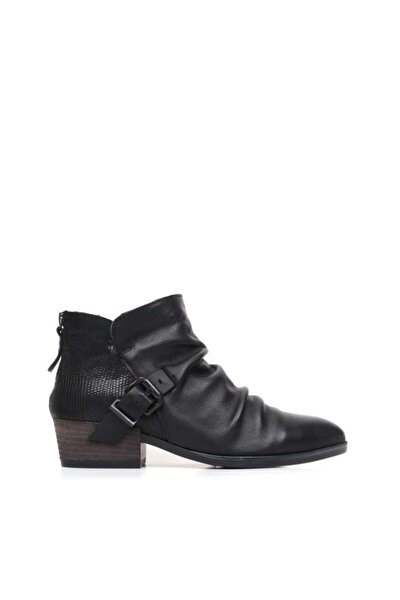 Shoes Fermuarlı Ve Baskılı Hakiki Deri Kadın Düz Bot 9p1307