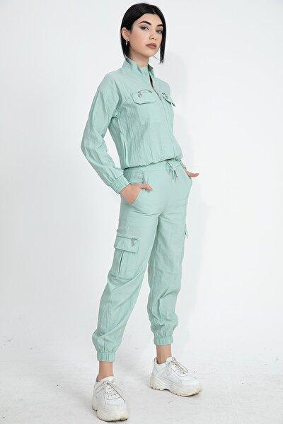 Paraşüt Kumaş Kargo Cep Kadın Eşofman Takımı