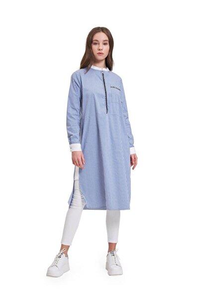 Taş Detaylı Tunik Gömlek (Mavi)