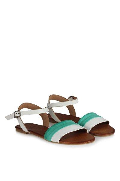 41-42-43-44 Numara Deri Sandalet Su Yeşili