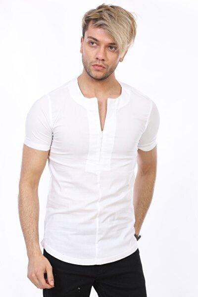 Erkek Yakasız Kısa Kol Beyaz Gömlek