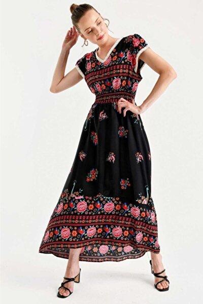 1701 Bel Lastik Desenli Elbise