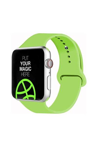 Apple Watch 38 - 40 Mm Spor Kordon Silikon Kayış Açık Yeşil
