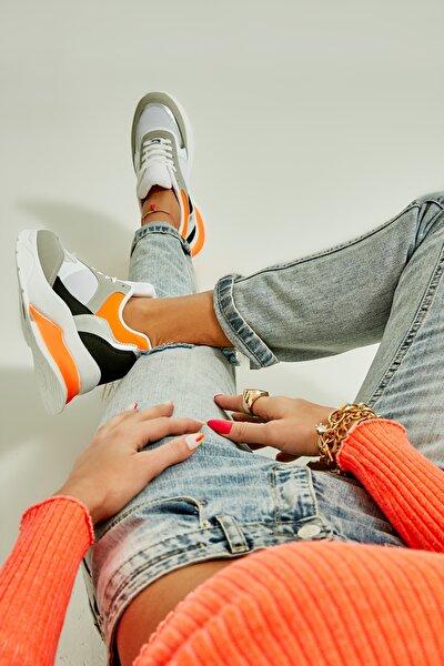 Beyaz/turuncu Kadın Sneaker
