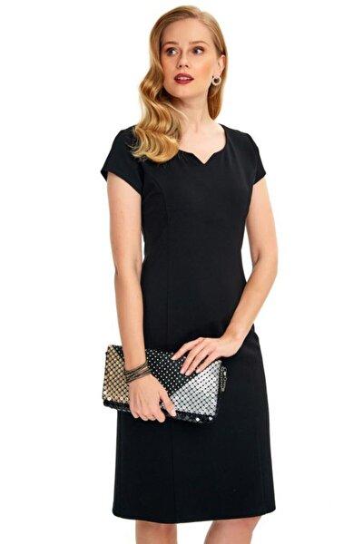 Önü Çıt Yakalı Mini Kollu Elbise 020-2513