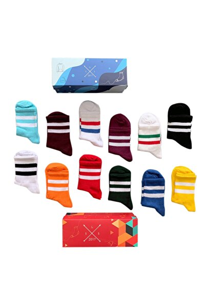 12'li Çift Çizgi Tenis Renkli Çorap Kutusu