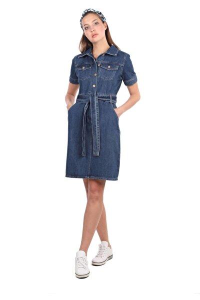 Blue White Kadın Kısa Kol Jean Elbise