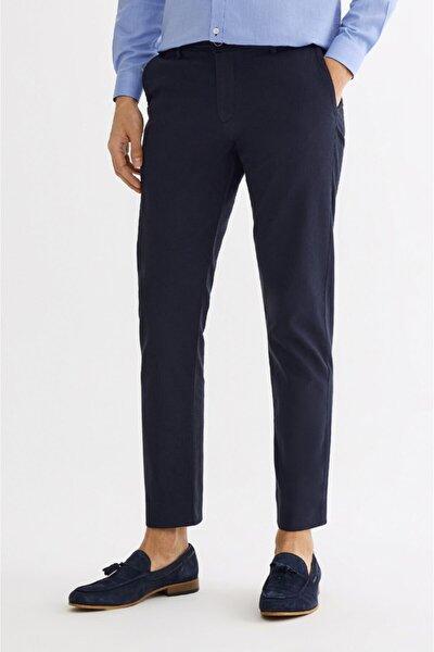 Erkek Lacivert Yandan Cepli Armürlü Slim Fit Pantolon A01y3030