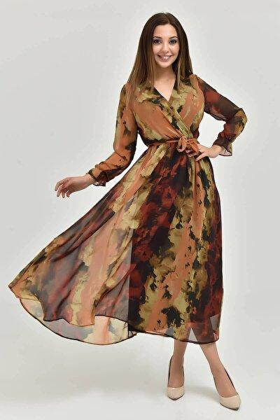 Kahverengi Desenli Midi Boy Büyük Beden Şifon Elbise