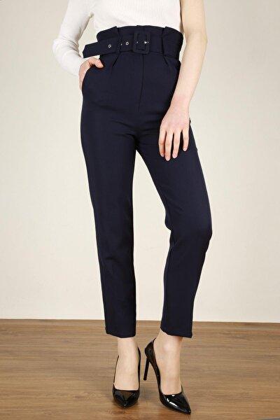 Kadın Lacivert Kemerli Yüksek Bel Kumaş Pantolon