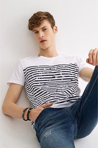 Erkek Beyaz Bisiklet Yaka Çizgi Baskılı T-shirt A01s1261