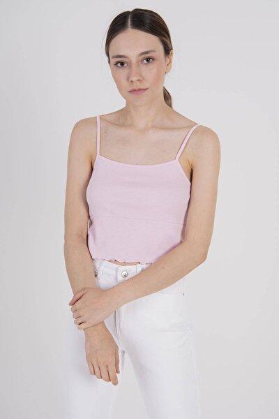 Kadın Toz Pembe Ip Askılı Bluz B0186 - W1 ADX-00008071