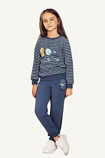Sleep Pamuklu Kız Çocuk Pijama Takımı - Indigo
