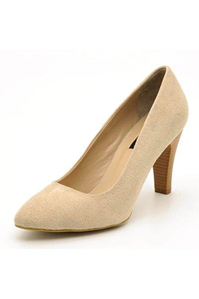1923 Bej Suet Topuklu Büyük Numara Kadın Ayakkabıları
