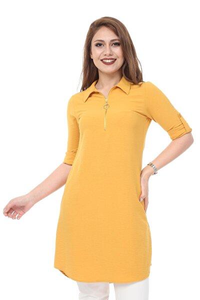 Kısmetli Kadın Fermuarlı Tunik Gömlek