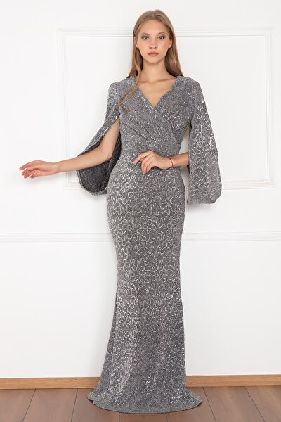 Esma 3985 Pullu Piliseli Uzun Elbise
