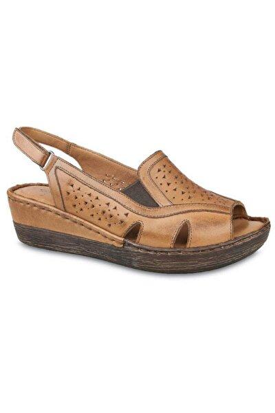 102 Hakiki Deri Dolgu Topuk Sandalet