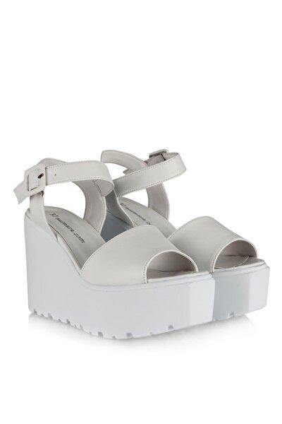 Dolgu Topuk Ayakkabı Beyaz Sandalet