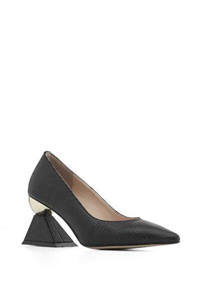 Kote Bayan Topuklu Ayakkabı Siyah Yılan