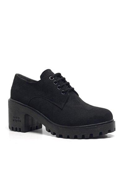 Siyah Süet Bağcıklı Topuklu Oxford Kadın Ayakkabı