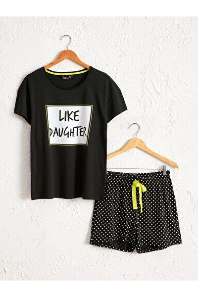 Kadın Siyah Baskili  Pijama Takım